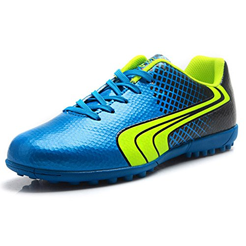 Tiebao Unisex Kids Adults Lace Up Rubber Cleats Football Shoes Boots for Hard Artificial Ground Indoor Blue S76520 Adults US7
