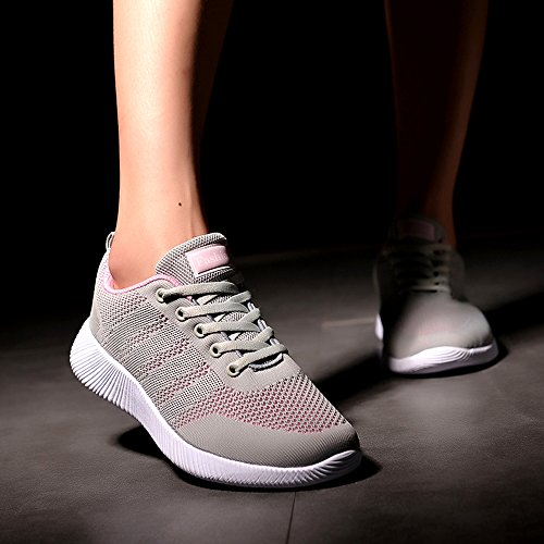 EnllerviiD Women Breathable Running Walking Sneaker Mesh Lace up Toning Shoes Pink XbNqj1lcQH