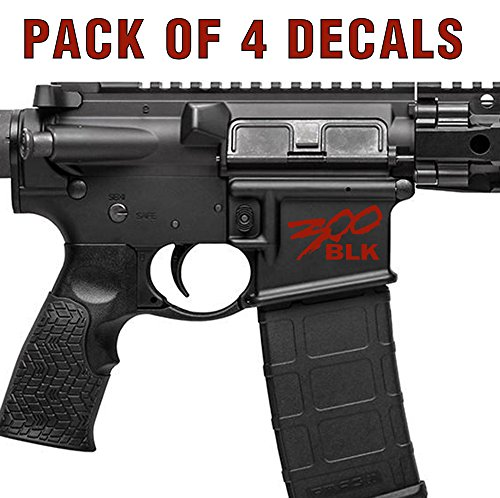4X 300 Blackout BLK AR15 Lower Graphic - Spartan Style .300 AAC AR Decal (Blood (300 Graphic)