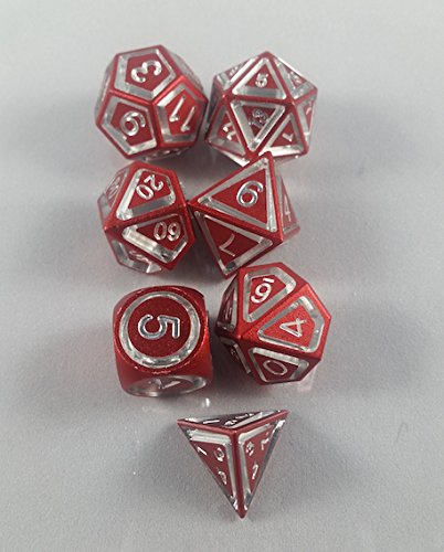 Floating Polyhedral 7-Die Set - Red Anodized Aluminum - Gaming Dice   B01N1LWCDA