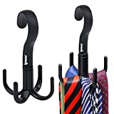 IPOW 2 Pack 360 Degree Rotating Twirl Tie Rack Holder Hook Hanger for Closet Organizer Hanging Tie Scarf Belt Bag Accessories,No Need to Install