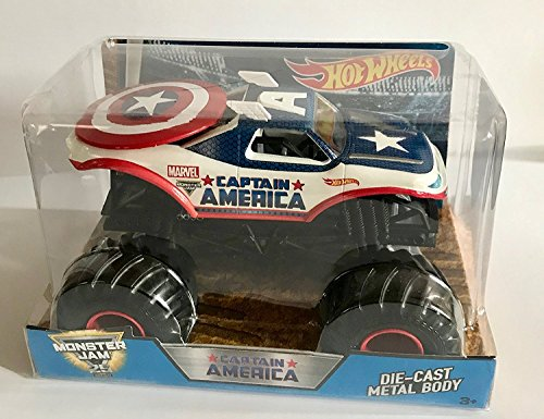Hot Wheels Monster Jam Truck 25 Year 1987-2017 Marvel Captain America Die-Cast Metal Body 1:24 Scale Collectible Truck