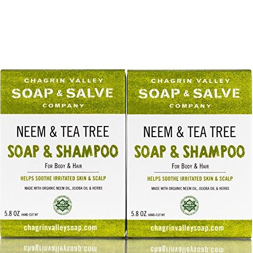 Organic Natural Shampoo & Soap Bar, Neem & Tee Trea 2X Pack, Chagrin Valley Soap & Salve