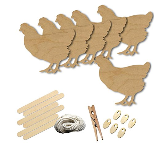 Leghorn Chickens (Leghorn Hen Chicken Style 238 , Wood Shape Craft Kit, 4 Inch Size Kids Project Kit, Great Party, School and DIY)