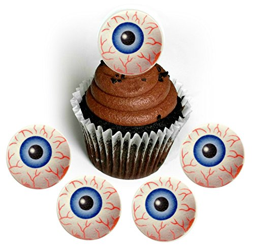Halloween Monster Bloodshot Eyeball Wafer Paper Toppers 1.5 Inch for Decorating Desserts Cupcakes Cakes Pack of 24