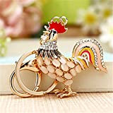 Reizteko Cock Opal Rooster Fashion Cute Accesories Crystal Purse Bag Key Chain Gift (100pcs)