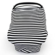Kstare Baby Nursing Breastfeeding Cover Super Soft Cotton Multi Use for Baby Car Seat Canopy Covers Canopy Shopping Cart Cover Scarf Light Blanket Stroller Cover (Black)