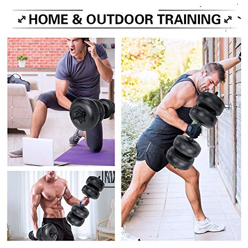 2PCS Water-Filled Dumbbells Travel Dumbbells Adjustable Up to 35~44Lbs Water Fillable Dumbbells Set for Men//Women Hand Weight Bodybuilding Gym Exercise Arm Muscle Weightlifting Training Portable