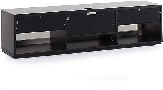 SONOROUS Studio ST-160B I/R - Soporte para televisor (madera, cristal, con ruedas ocultas, para tamaños de hasta 75 pulgadas, diseño moderno con 6 estantes para sus componentes de audio/vídeo y consolas), color