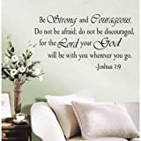 Dushang Be Strong and Courageous Do Not Be Afraid Joshua 1:9 religious wall quotes arts Large Wall Decal Sticker Quote Home Decoration Decor