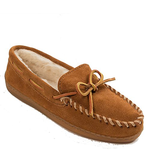 Minnetonka Womens Pile Lined Hardsole Moccasin Slipper Brown Suede Wide Size 8