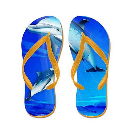 Cafepress Mamma Barn Delfin - Flip Flops, Roliga Rem Sandaler, Strand Sandaler Apelsin