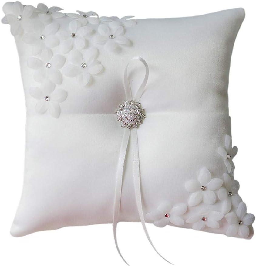FGDFGDFEEGVD Almohada de Anillo de Bodas Nupcial de Color Blanco cremoso, Almohada de Almacenamiento de Anillo de decoración de Diamantes de imitación de Flor de Tul Satinado