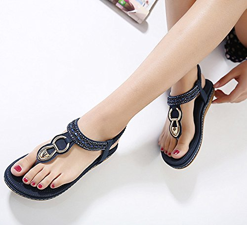 Maybest Women Sandwich Sandals Rhinestone Clip Toe Beach Shoes Elastic T-Strap Bohemia Flat Slippers Thongs Flip Flop Blue 9 B (M) US Photo #7