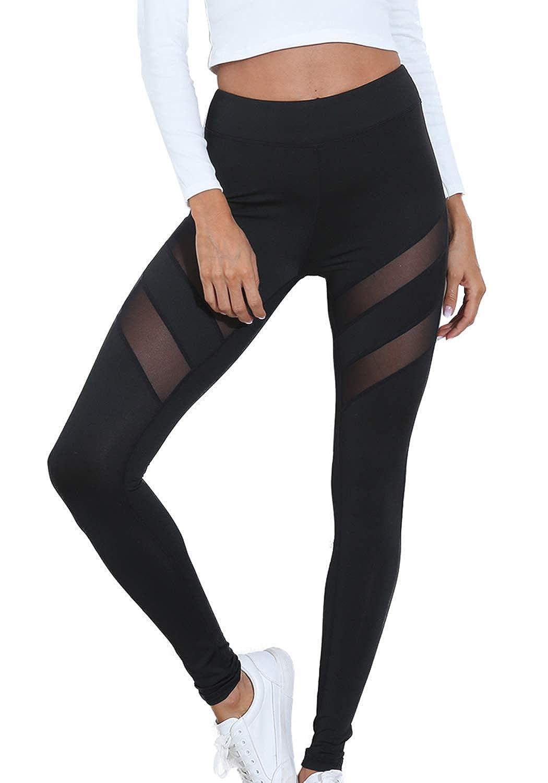 02black popiv Women's Stretchy Skinny Sheer Mesh Insert Workout Leggings Yoga Tights High Waist Leggings