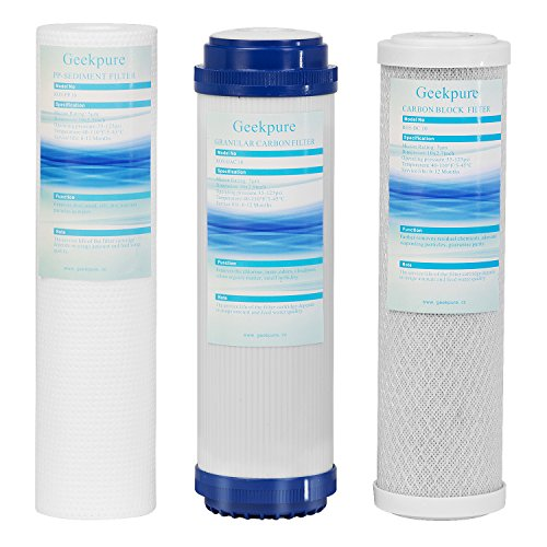 Geekpure Universal Compatible Reverse Osmosis Filter Replacement Pre-Filter Sets (1 x Sediment, 1 x Granular Carbon, 1 x Carbon Block for undersink RO. 3 Pk. Size: - Carbon Block Filter Pre
