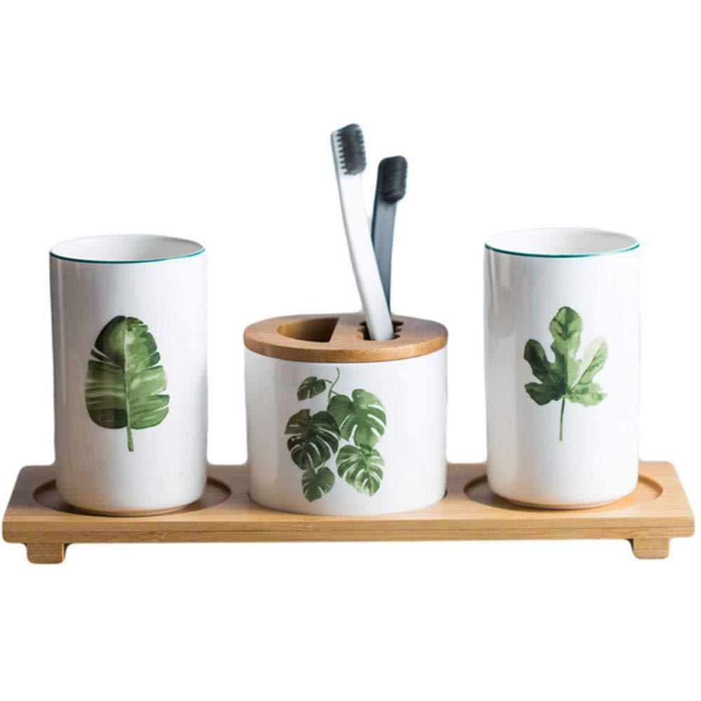Mali Creativo Planta Verde Cerámica Taza De Lavado Cepillo De Dientes Copa Moda Simple Pareja Copa De Boca * 2 + Titular De Cepillo De Dientes + Tablero De ...