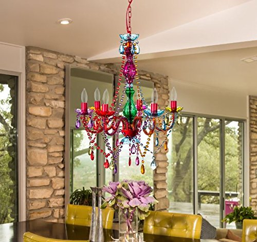 The Original Gypsy Color 6 Light Large Gypsy Chandelier H27 W23 – Color Chandelier