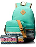Leaper Causal Style Lightweight Canvas Laptop Bag School Backpack + Shoulder Bag + Purse Pen case (Large, Water Blue, 3pcs)