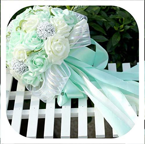 (Memoirs- 5 Colors Mint Green Artificial Flowers Wedding Bridesmaid Bouquets 2016 Romantic Wedding Brooch Bouquets Wedding)