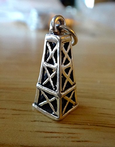 Pendant Jewelry Making Sterling Silver 3D 19x8mm Old Style Oil Field Derrick Charm