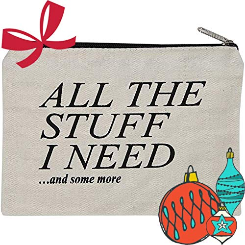 Canvas Zipper Pouch, Cotton Cosmetic Makeup Bag, Student School Art Supplies Organizer, Cute Quote Zip Cotton Pouches for Women, Holds 50 Pencil-Make Up-Toiletries-Phones-Electronics