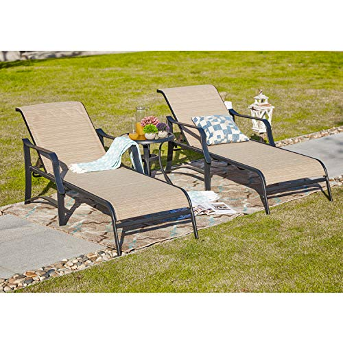 LOKATSE HOME Outdoor Patio Adjustable Metal Chaise Lounge Chair Recliner Set of 2 with 1 Glass Top Bistro Table, Grey ()