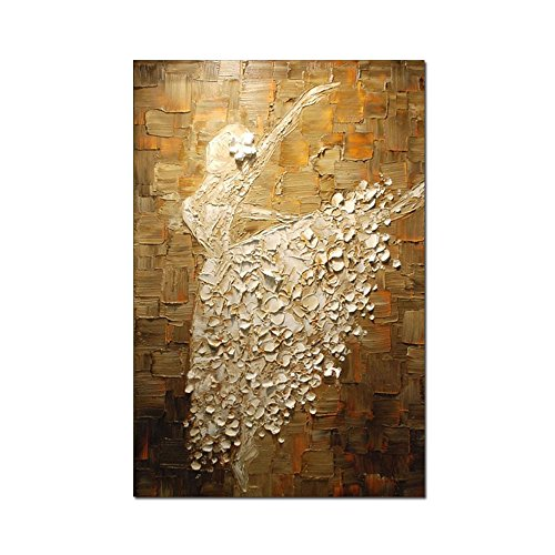 V-inspire Ballet Girls Dancer Paintings, 32x48 Inch Hand Painting Ballerina Girl Abstract Art 3d Oil Painting Modern Art 100% Hand Painted Wall Decoration Wood Inside Framed Ready to Hang by V-inspire