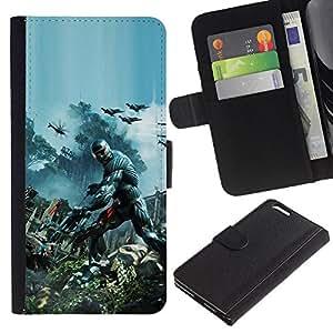 Apple (5.5 inches!!!) iPhone 6+ Plus / 6S+ Plus - Dibujo PU billetera de cuero Funda Case Caso de la piel de la bolsa protectora Para (Crisis Future Soldier War)