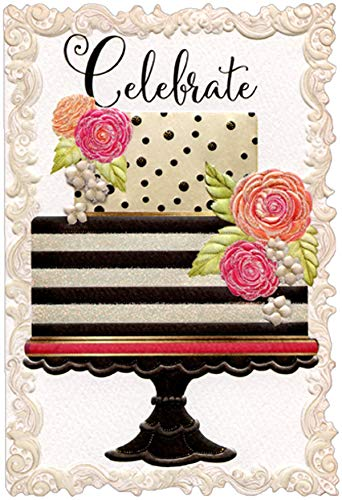 Pictura Celebrate Striped and Dotted Cake Sienna Garden Die Cut Birthday Card