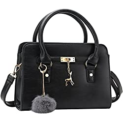 Bagerly Women Fashion PU Leather Shoulder Bags Top-Handle Handbag Tote Bag Purse Crossbody Bag (Black)
