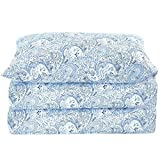 Mellanni Bed Sheet Set Brushed Microfiber 1800 Bedding - Wrinkle, Fade, Stain Resistant - Hypoallergenic - 3 Piece (Twin XL, Paisley Blue)