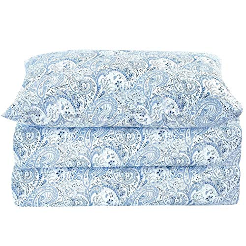 Mellanni Bed Sheet Set Brushed Microfiber 1800 Bedding - Wrinkle, Fade, Stain Resistant - Hypoallergenic - 3 Piece (Twin, Paisley Blue)