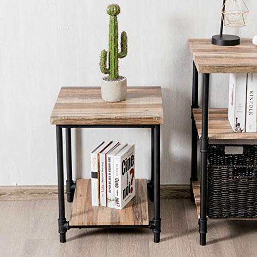 Tangkula End Table, Wooden Square Table with Metal Frame, Modern Side Table, Ideal for Bedroom, Living Room, Office, Apartment and Studio, 22 inch Side Table, Natural (2)