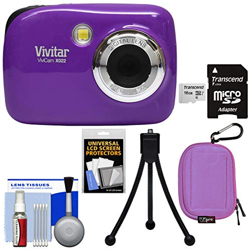Vivitar ViviCam VX022 Digital Camera (Purple) with 16GB Card + Case + Tripod + Kit