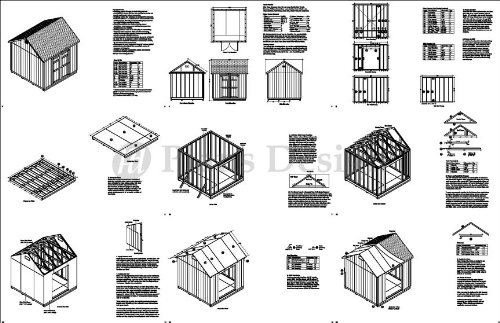 Storage Shed Plans 10' x 10' Reverse Gable Roof Style Design # D1010G, Material List and Step By Step Included