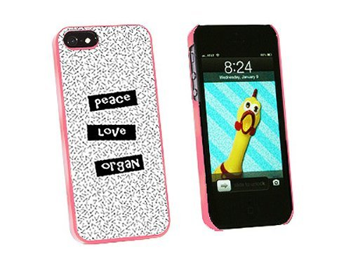 Graphics and More Peace Love Organ Snap-On Hard Protective Case for iPhone 5/5s - Non-Retail Packaging - Pink