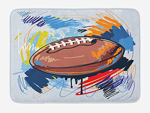 Hopscotch Rugby - Queolszi Sports Bath Mat, Diamond Shape Rugby Ball Sketch with Colorful Doodles Professional Equipment League, Plush Bathroom Decor Mat with Non Slip Backing, 23.6 W X 15.7 W Inches, Multicolor