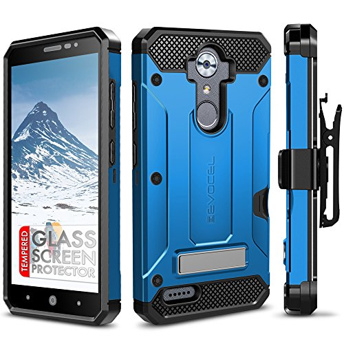 ZTE MAX XL Case, Evocel [Explorer Series Pro] with [Glass Screen Protector] Premium Full Body [Metal Kickstand][Credit Card Slot][Holster] For ZTE MAX XL (N9560) / ZTE Blade Max 3 (N986), Blue