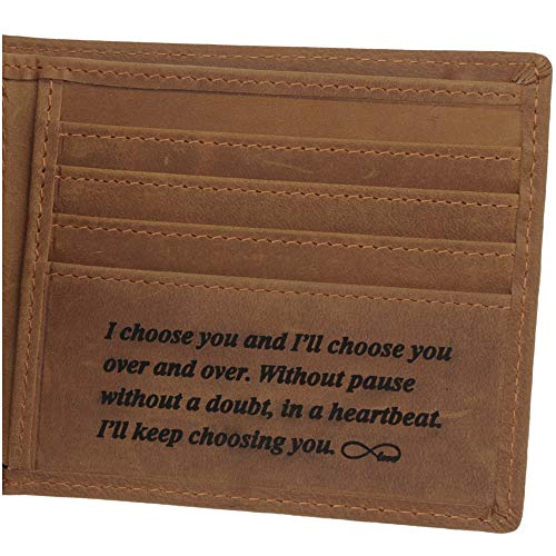 Leather Wallet for Men, Personalized Engraved Gifts for Men, Anniversary Gifts for Husband or Boyfriend, Personalized Gifts for Him, Mens Engraved Gifts (Leather Personalized Engraved)