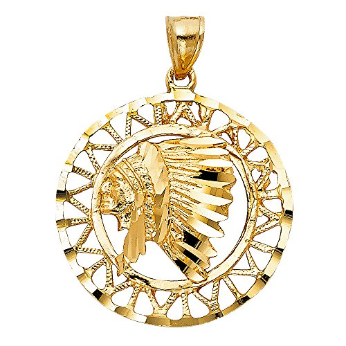 Solid 14k Yellow Gold Indian Head Pendant Native American Chief Medal Charm Diamond Cut 29 x 29 mm