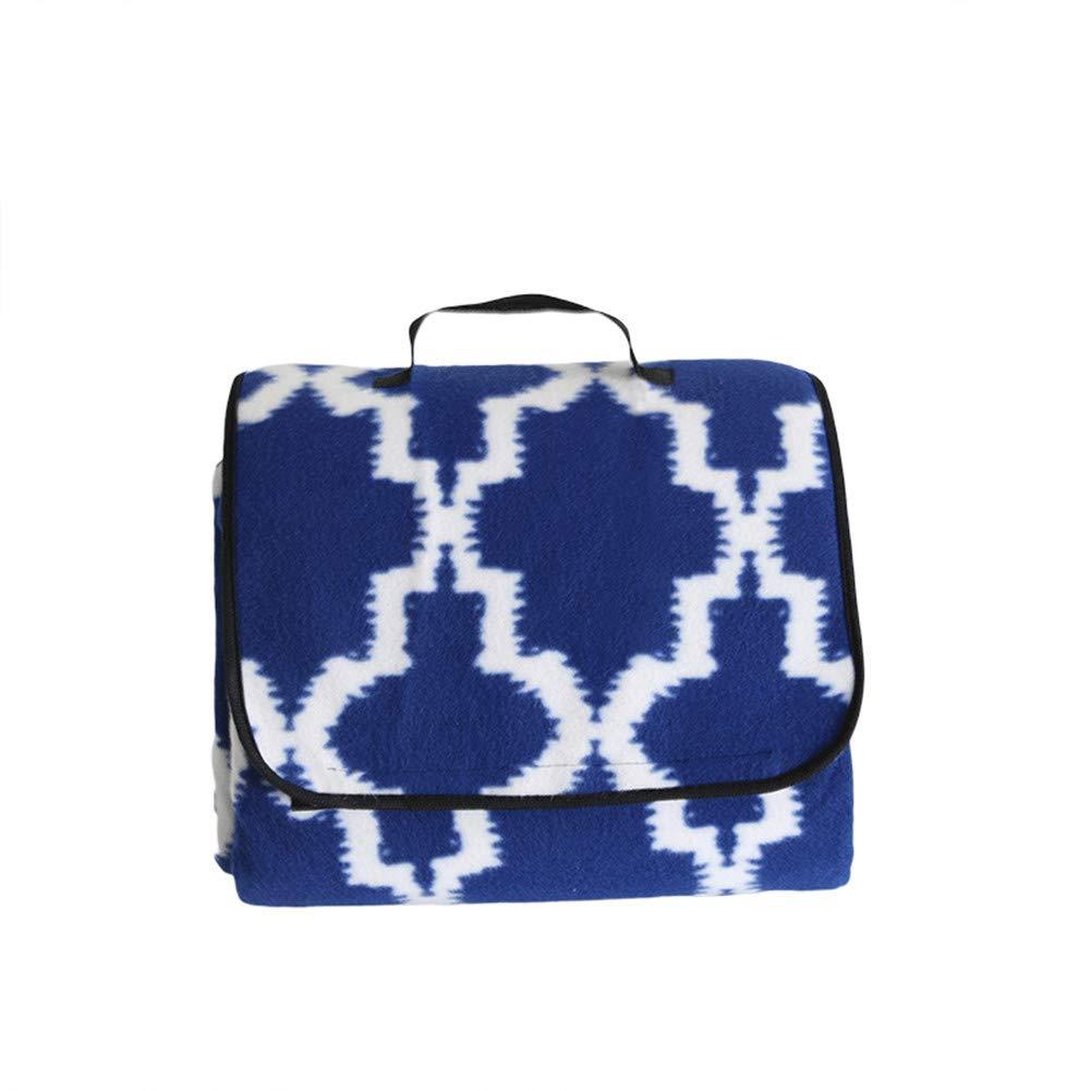 X-Labor Outdoor Picknick Decke Fleece 200x200 cm XXL mit Wasserdichter Unterseite Blau Geometrie