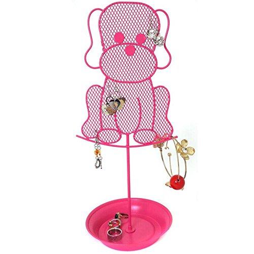 Bucasi Cute Dog Jewelry Organizer - Pink Earring Jewelry Stand - Dresser Top Jewelry Organizer for Teens - Earring Holder