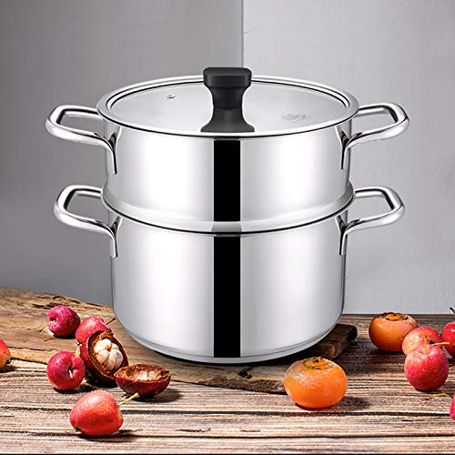 Mr Rudolf 3 Pieces 18/10 Stainless Steel Steamer Set 9.5 inch 5 Quart Sauce Pot and 5 Quart Steamer set with Glass Lid Dishwasher Safe PFOA Free (5 Piece Roaster Set)