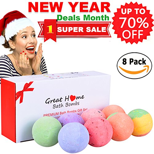 Natural Spa Bath Bombs Lush Quality Gift Set 8 Huge Multi-Colored Rich Bubble Skin Moisturizing Soap Bath Fizzies Pearl Kit Birthday Christmas Gift Idea for Women Men Teens Girls by Great Home (Christmas Gift Offers)