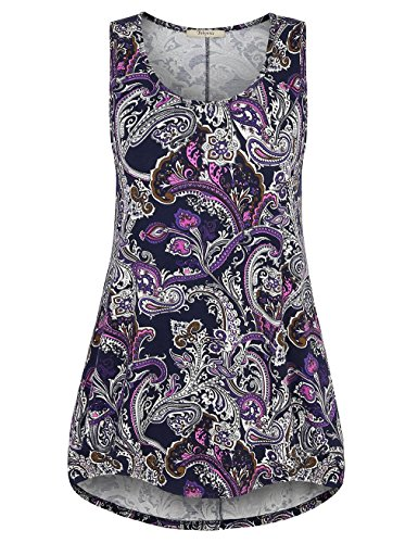 Print Paisley Top - Tunics for Women,Bebonnie Wemens Sleeveless Paisley Soft Surrounding Clothing High Low Hem Blouse Tank Top Violet XL