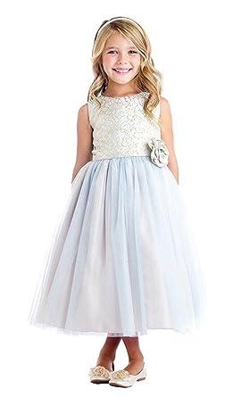 8944e4d4d9e iGirldress Vintage Jacquard Tulle Junior Bridesmaid Flower Girl Dress Blue  Size 2