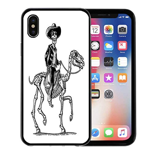 Semtomn Phone Case for Apple iPhone Xs case,The Rider in Mexican Man National Costumes Galloping on Skeleton Horse Dia De Los Muertos Vintage for iPhone X Case,Rubber Border Protective Case,Black]()