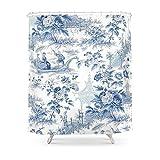 Blue Toile Shower Curtain Society6 Powder Blue Chinoiserie Toile Shower Curtain 71