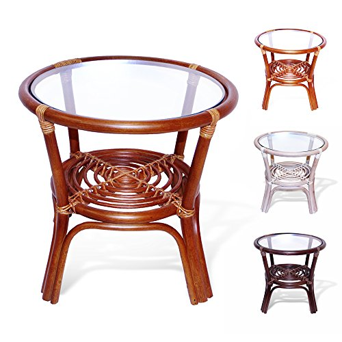 Leo Rattan Wicker Round Accent End Table with Glass, (Tropical Rattan)